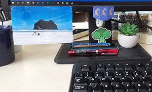 A desk filled with personal touches