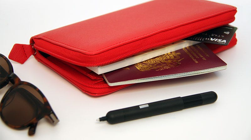 Budget Travel Essentials: Filofax Saffiano Compact Zip Organiser in Poppy and Lamy Pico Matt Black Ballpoint Pen
