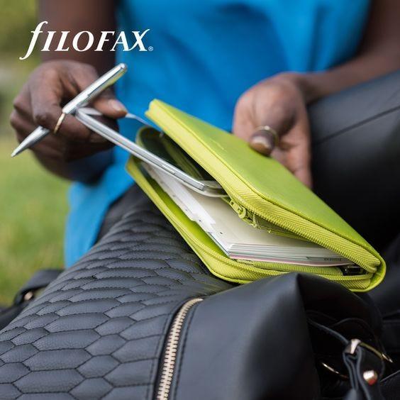 Filofax Saffiano Compact Zip Organiser - Pear
