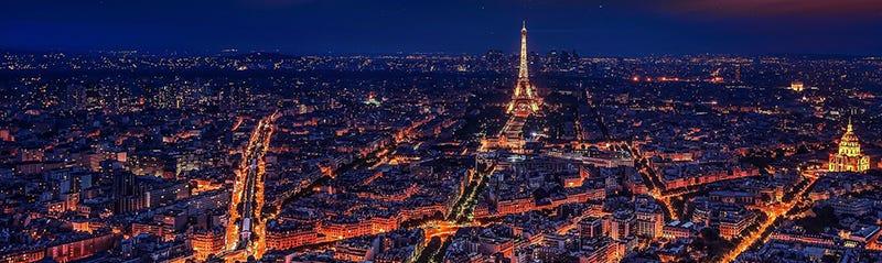 The Paris skyline at night