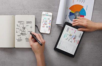 Business graphs drawn using the Molsekine Smart Writing Set