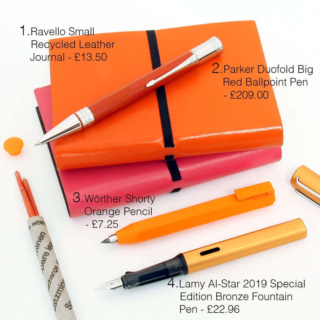 Pen Heaven's selection of products to match 'Orange Overload' Spring/Summer 2019 Fashion Trends from London Fashion Week
