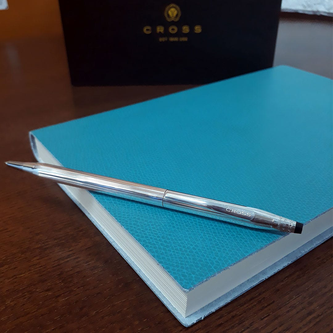 Cross Classic Century Sterling Silver Ballpoint Pen & Palmi Large Grained Journal - Turquoise