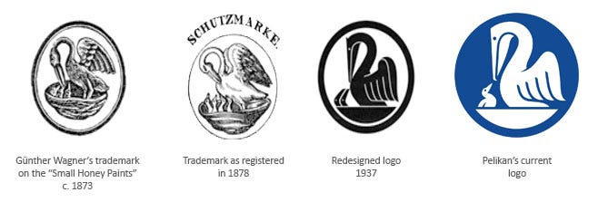 A picture showing 4 of the many differeing Pelikan logos through the years