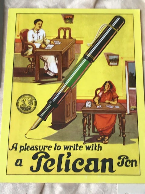 A Pelikan advertising poster showing how they used to change the spelling of their name to suit the country it was being sold in