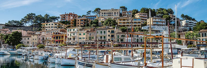 Houses and boats in Soller, Mallorca, Spain