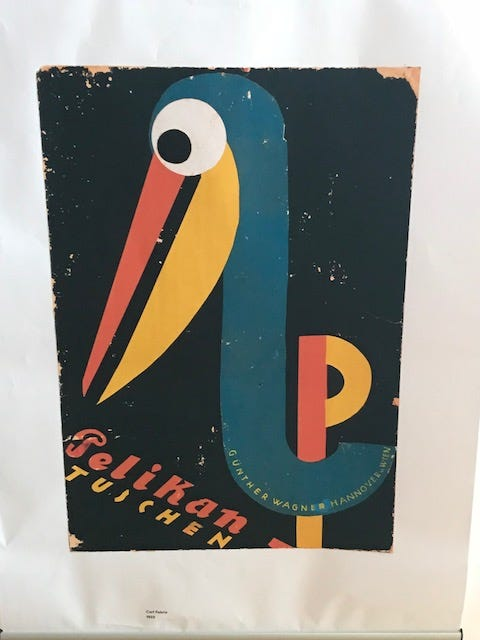 One of Pelikan's vintage advertising posters, showing a very colourful and highly stylised Pelican