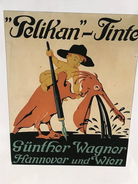 One of Pelikan's vintage advertising posters, showing a small child wringing the neck of a Pelican to extract its ink