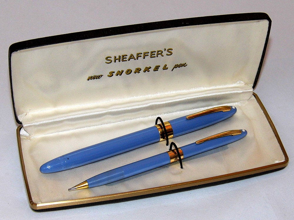Vintage Sheaffer Snorkel pen and pencil set in blue presented in their original box