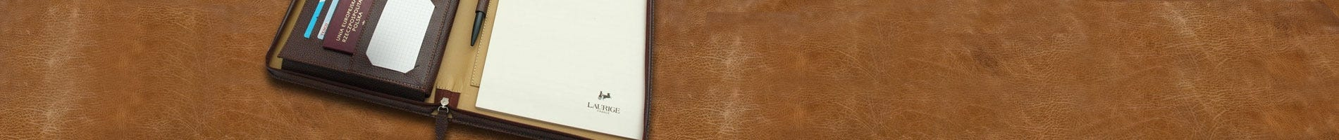 laurige leather pad portfolio chocolate