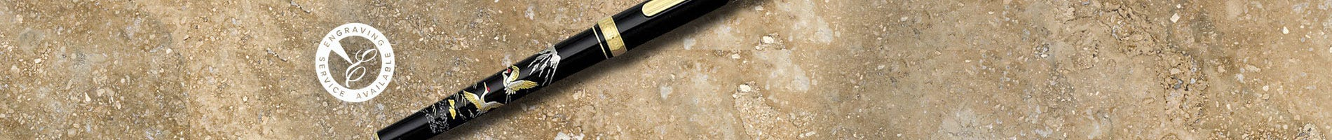 Platinum rollerball pen decorated with Japanese Maki-e design