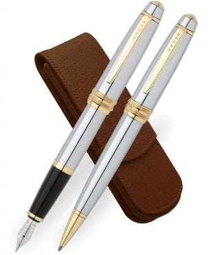 Cross Bailey Medalist Fountain, Ballpoint & Leather Pen Case Set