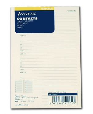 Filofax Personal Refill - Name/address/telephone number/mobile/email