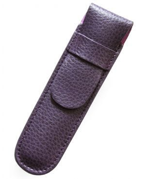 Laurige Leather 1 Pen Case - Aubergine
