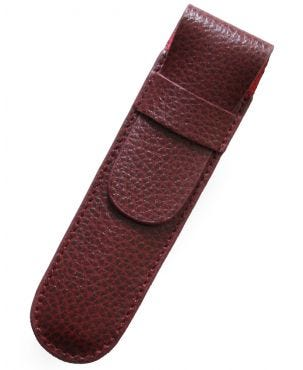 Laurige Leather 1 Pen Case - Burgundy