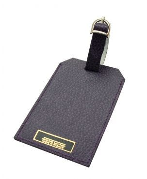 Laurige Leather Luggage Tag - Aubergine