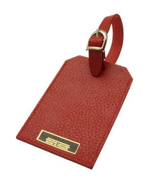 Laurige Leather Luggage Tag - Red