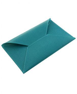 Laurige Leather Travel Envelope - Turquoise
