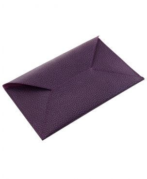 Laurige Leather Travel Envelope  - Aubergine