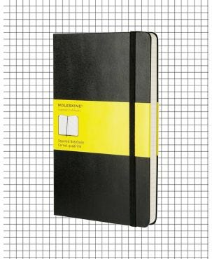 Moleskine Hard Cover Large Notebook - Black, Squared