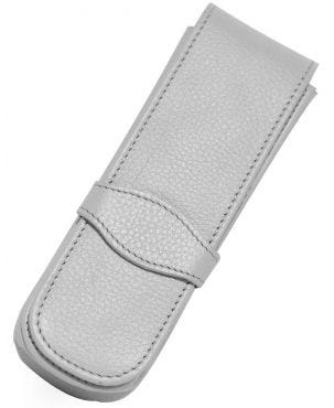 Online Leather 2 Pen Case - Light Grey