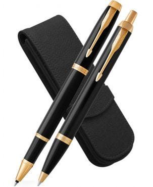 Parker IM Black Gold Trim Rollerball, Ballpoint and Leather Pen Case Set