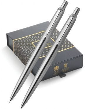 Parker Jotter Stainless Steel Chrome Trim Ballpoint Pen & Mechanical Pencil 0.5mm Gift Set