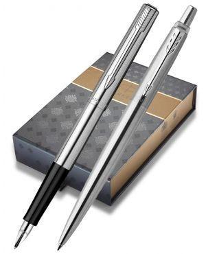 Parker Jotter Stainless Steel Chrome Trim Fountain & Ballpoint Pen Gift Set