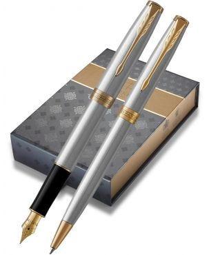 Parker Sonnet Stainless Steel Gold Trim Fountain & Ballpoint Pen Set