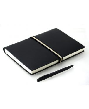 Abruzzi Large Recycled Leather Journal with Black & Stone Tie