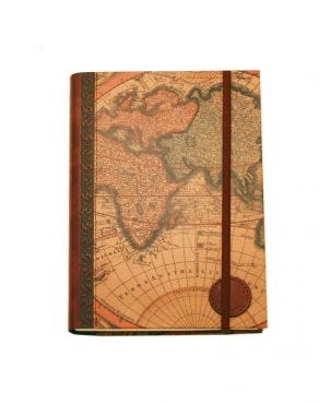 World Map Large Journal with Elastic Tie