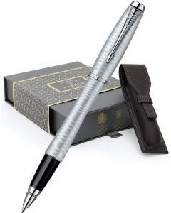 Parker Urban Premium Silver-Blue Rollerball Pen & Leather Pen Pouch Gift Set
