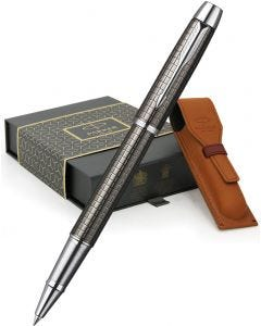 Parker IM Premium Gunmetal Chiselled Rollerball Pen & Leather Pen Pouch Gift Set