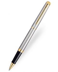 Waterman Hemisphere Stainless Steel Gold Trim Rollerball Pen