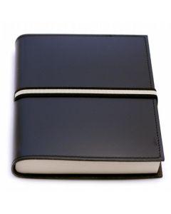 Abruzzi Medium Recycled Leather Journal with Black & Stone Tie - Black