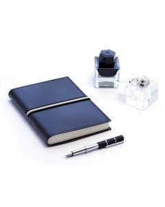 Abruzzi Medium Recycled Leather Journal with Black & Stone Tie
