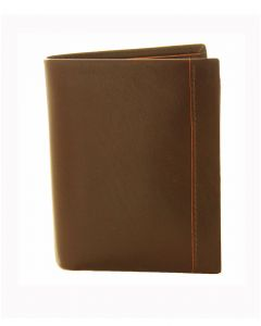 Dents Vertical Leather Wallet Chocolate/Orange