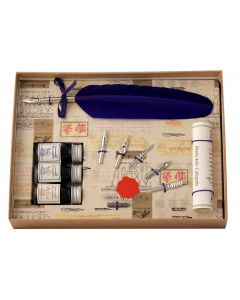 Coles Calligraphy Feather Quill, 3 Inks & 6 Nib Set - Blue