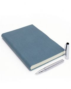 Coles Byron Chrome Rollerball Pen & Palmi Large Leather Journal