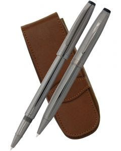 Coles Dryden Gunmetal Ballpoint, Rollerball & Leather Pen Case Set