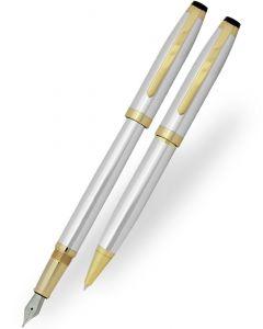 Coles Milton Chrome Gold Trim Ballpoint & Fountain Pen Set