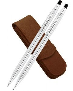 Cross Classic Century Lustrous Chrome Ballpoint, Pencil & Leather Pen Case Set