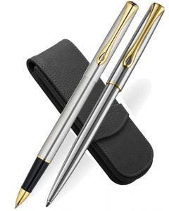 Diplomat Traveller Stainless Steel Gold Trim Ballpoint & Rollerball Pen Set with Leather Case