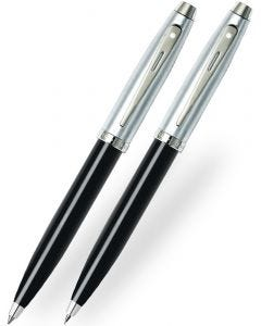 Sheaffer 100 Gloss Black Brushed Chrome Ballpoint & Pencil Set