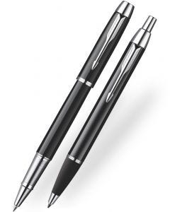 Parker IM Black Chrome Trim Ballpoint & Rollerball Pen Set - 2015 Model