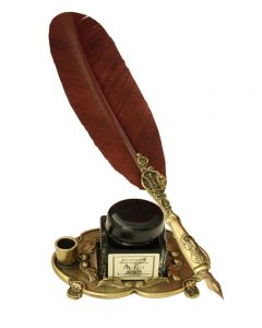 Brown Pewter Feather Quill & Ink Bottle with Pen Holder
