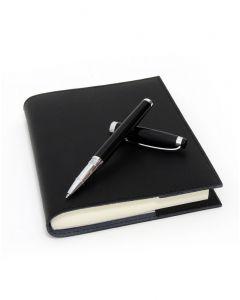 Coles Kipling Black Rollerball Pen & Sorrento Medium Refillable Leather Journal
