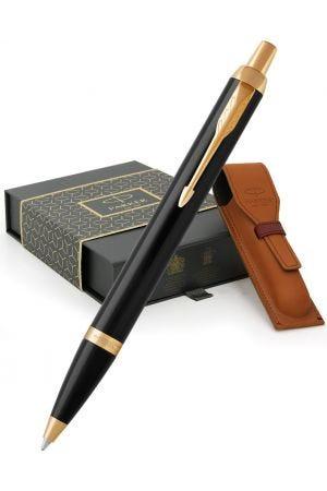 Parker IM Black Gold Trim Ballpoint Pen & Leather Pen Pouch Gift Set