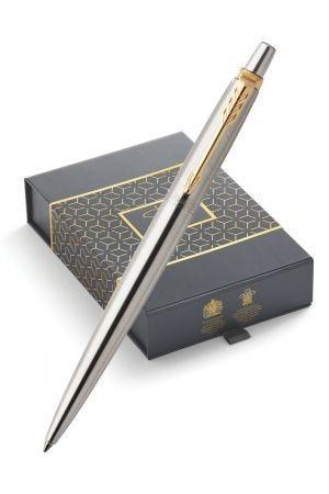 Parker Jotter Stainless Steel Gold Trim Ballpoint Pen & Leather Pen Pouch Gift Set