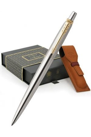 Parker Jotter Stainless Steel Gold Trim Ballpoint Pen & Leather Pen Pouch Gift Set